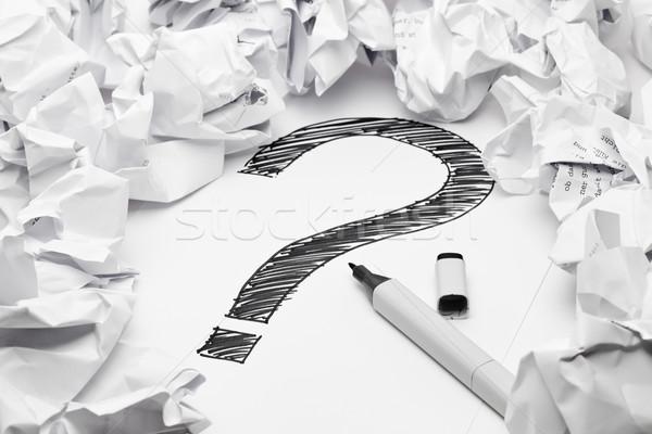 отсутствие вдохновение вопросительный знак средний документы бумаги Сток-фото © ShawnHempel