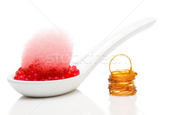 Moleküler gastronomi tatlı ahududu havyar çilek Stok fotoğraf © ShawnHempel