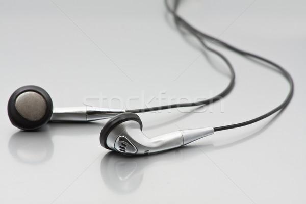Stock fotó: Ezüst · fejhallgató · fényes · króm · technológia · háttér