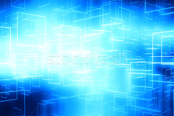 Abstract blue glowing cyberspace data boxes technology backgroun Stock photo © ShawnHempel