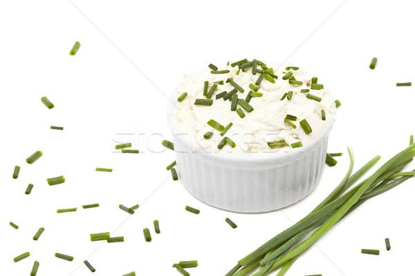 Krem peynir lezzetli beyaz arka plan Stok fotoğraf © ShawnHempel