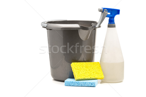 Household cleaning products - spray bottle, bucket and sponges Stock photo © ShawnHempel