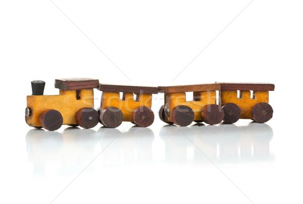 Brinquedo de madeira trem locomotiva branco velho usado Foto stock © ShawnHempel