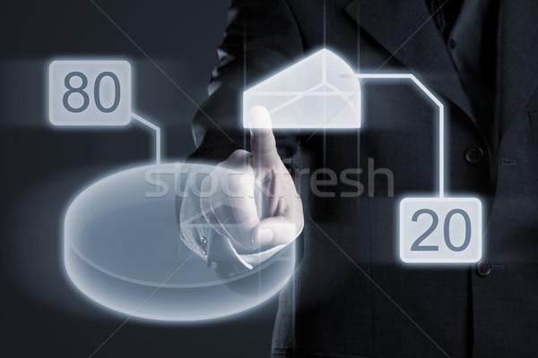 Tachtig twintig procent cirkeldiagram zakenman gegevens Stockfoto © ShawnHempel