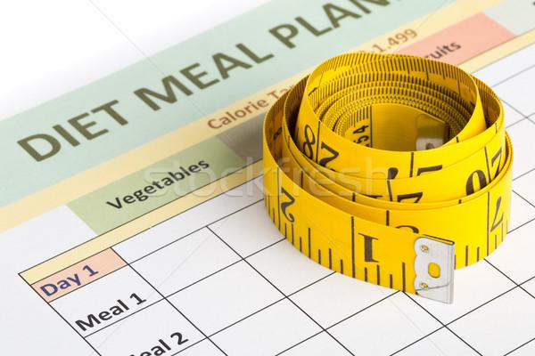 Diétázás fogyókúra mérés szalag étel tervez Stock fotó © ShawnHempel