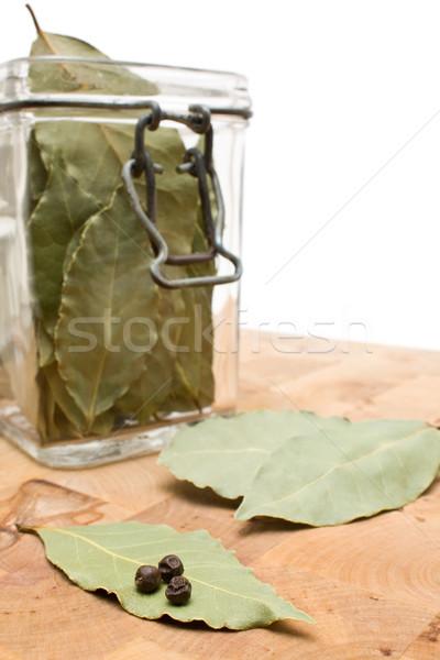 Zdjęcia stock: Suszy · pozostawia · jar · szkła · zielone