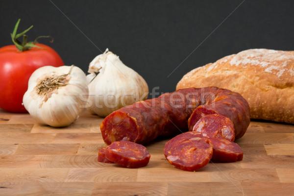 Chorizo worst smakelijk Italiaans brood snack Stockfoto © ShawnHempel