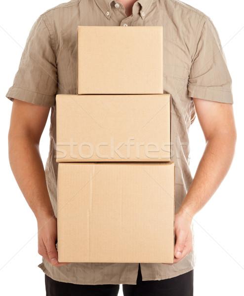 Pakketdienst man karton dozen levering Stockfoto © ShawnHempel