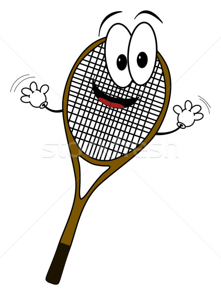 Heureux cartoon tennis rack personnage illustration Photo stock © ShawnHempel