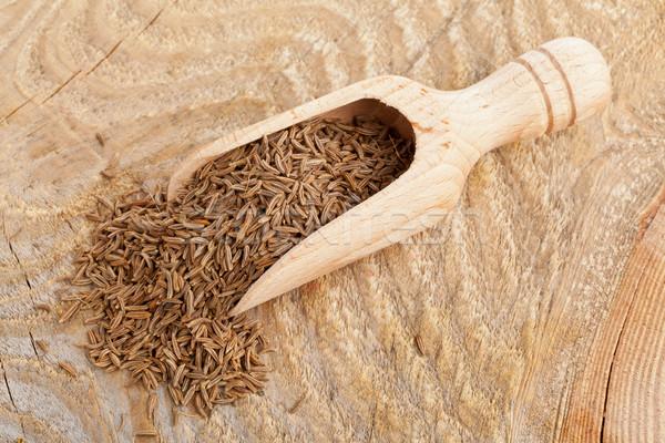 Kömény magok merítőkanál aszalt kömény fából készült Stock fotó © ShawnHempel