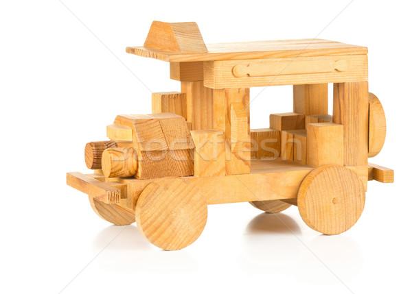 Mão brinquedo de madeira carro branco fundo diversão Foto stock © ShawnHempel