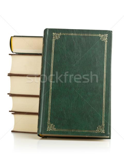 öreg bőr könyvek keményfedeles egymásra pakolva fehér Stock fotó © ShawnHempel