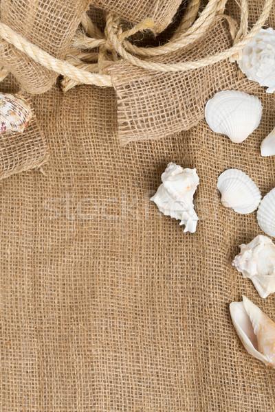 Conchas corda marrom pano de saco pano cópia espaço Foto stock © ShawnHempel