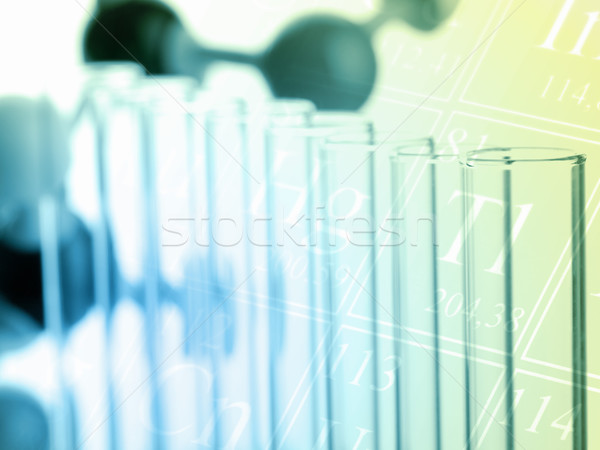 Test tubes with molecule model science concept Stock photo © ShawnHempel