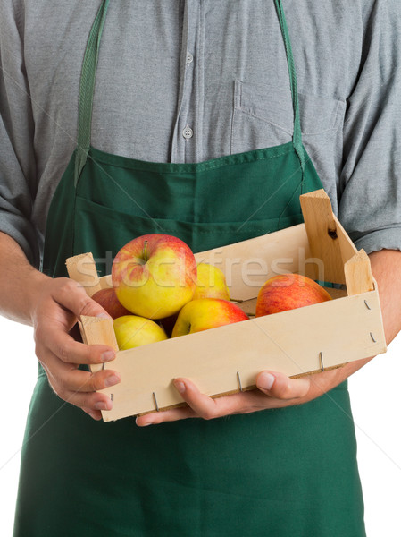 Farmer holding crate with fresh harvested apples Stock photo © ShawnHempel