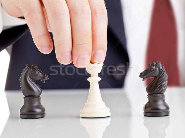 Konfliktus vezetőség üzletember tart sakk királynő Stock fotó © ShawnHempel
