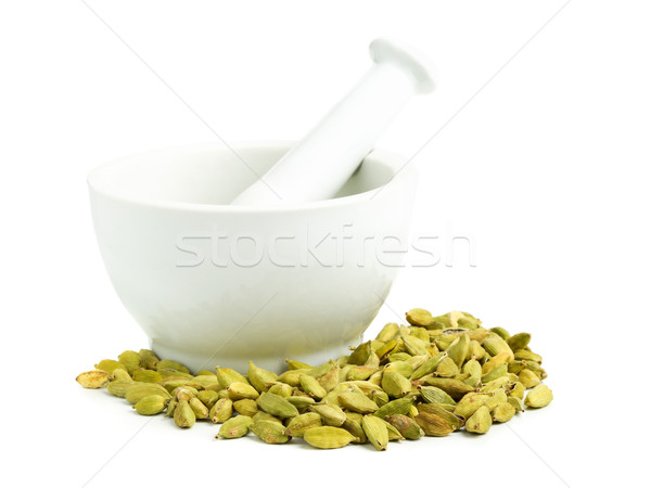 Cardamom seed pods with mortar Stock photo © ShawnHempel