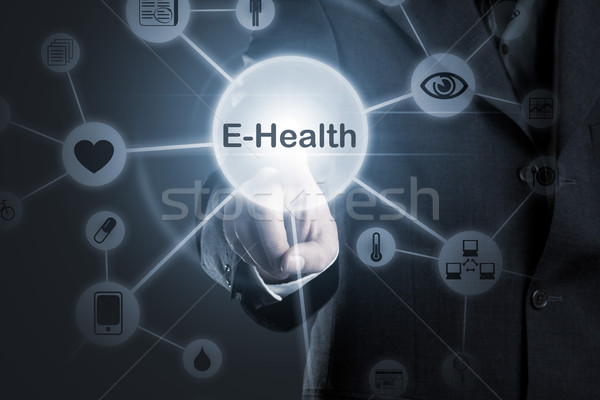 Stock photo: E-Health diagnostic, medical and technology symbols network