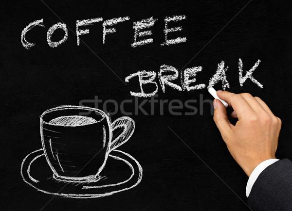 Coffee break writing on blackboard with coffee cup Stock photo © ShawnHempel