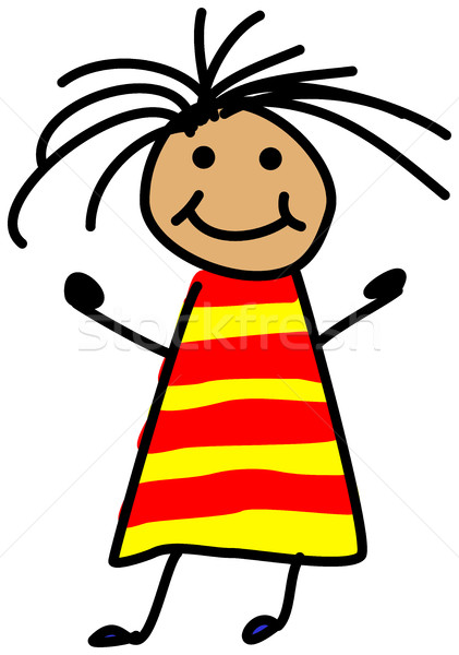 Simple child stickman illustration drawing of girl with wild hai Stock photo © ShawnHempel