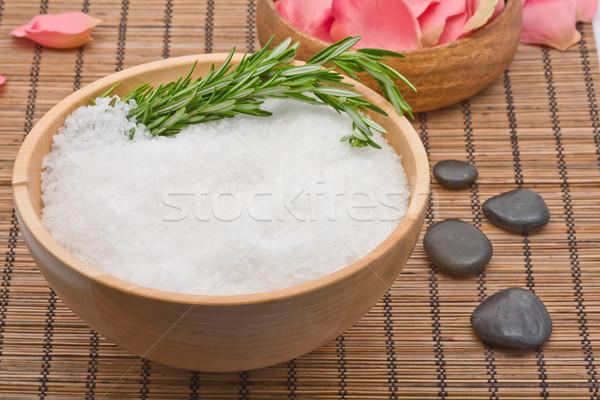 Rozmaryn soli aromaterapia spa wzrosła zdrowia Zdjęcia stock © ShawnHempel
