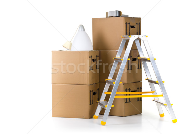 Moving carton boxes stack with ladder Stock photo © ShawnHempel