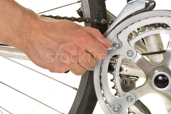 Man repairing chainring on a bicycle Stock photo © ShawnHempel
