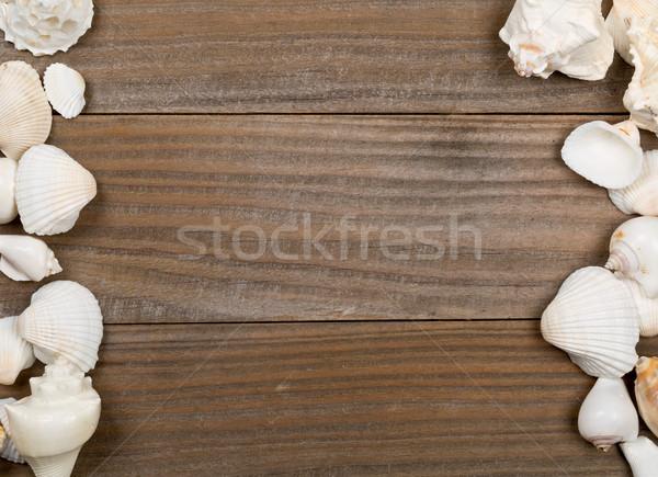 Conchiglia frame rosolare legno copia spazio vacanze Foto d'archivio © ShawnHempel