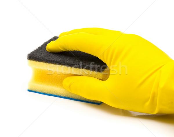 Stock fotó: Kéz · citromsárga · gumi · kesztyű · tart · takarítás