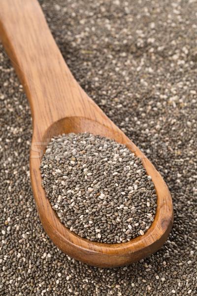 Crudo negro semillas cuchara de madera salud cuchara Foto stock © ShawnHempel
