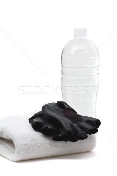 Fitness toalha água engarrafada branco mulheres Foto stock © ShawnHempel