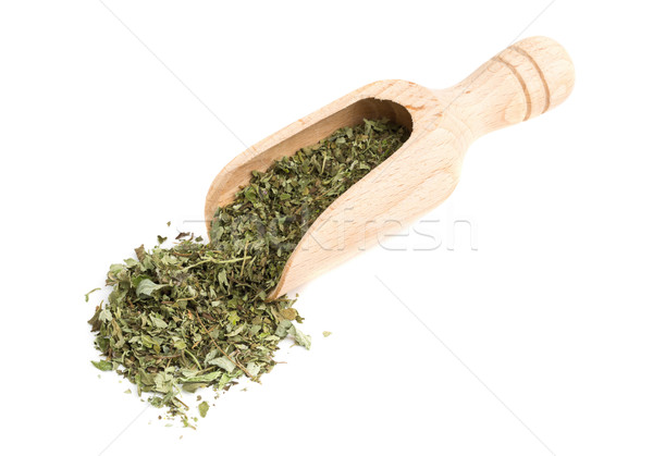 Stock photo: Dried oregano on wooden scoop