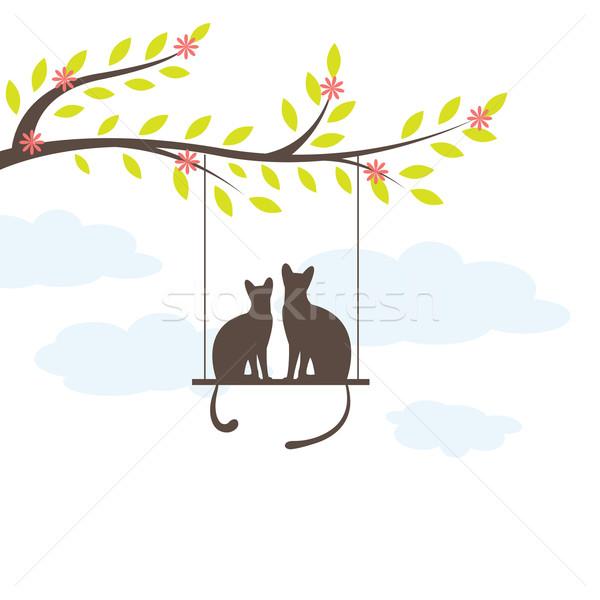 Iki salıncak vektör ağaç bebek Stok fotoğraf © shekoru