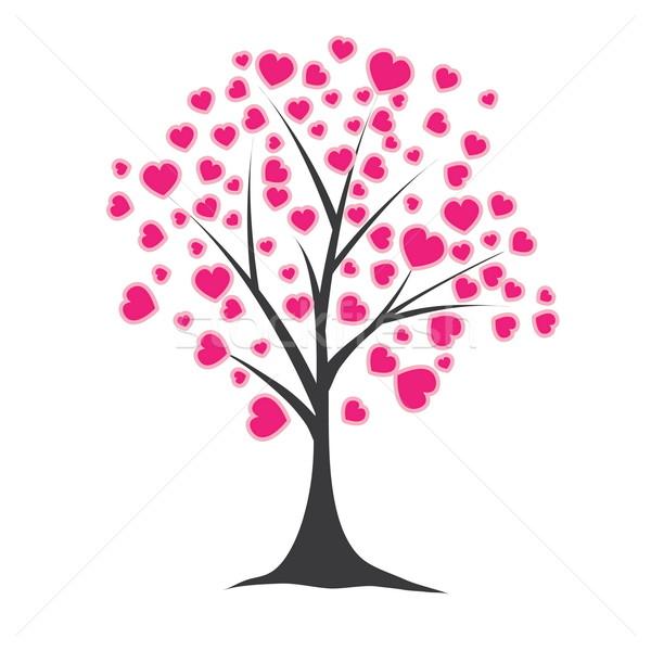дерево сердцах розовый компьютер весны сердце Сток-фото © shekoru