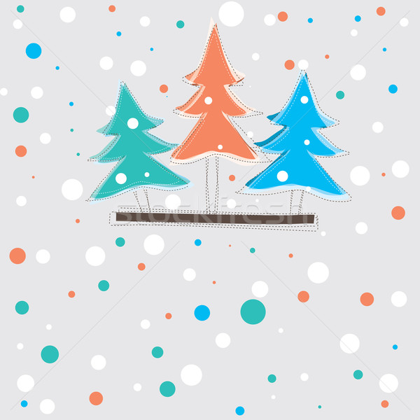 christmas card with tree . vector illustration Stock photo © shekoru