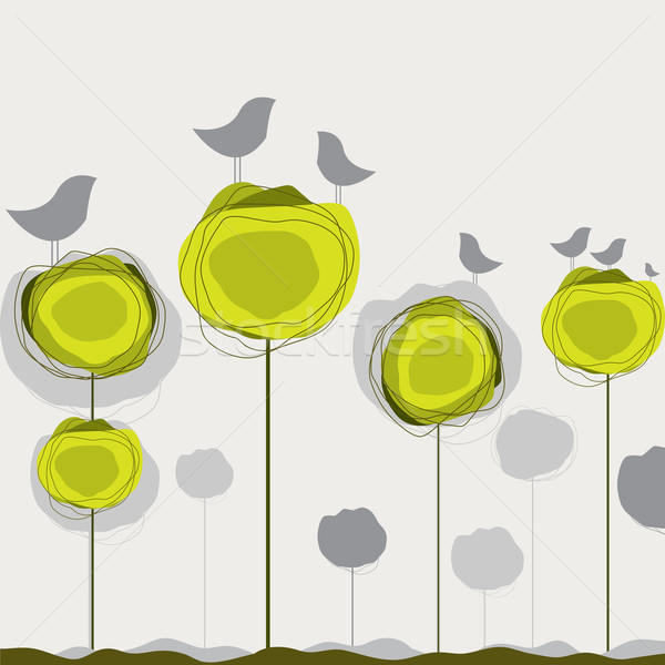 Stock photo: Background with birds, tree. Vector illustration