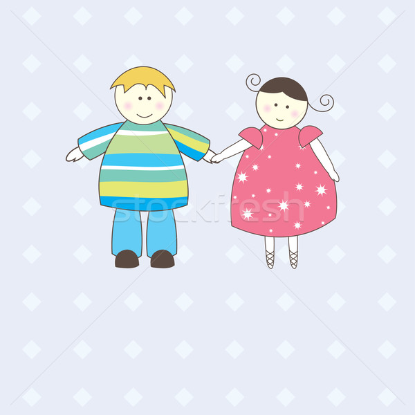 иллюстрация мальчика девушки белый женщину человека Сток-фото © shekoru