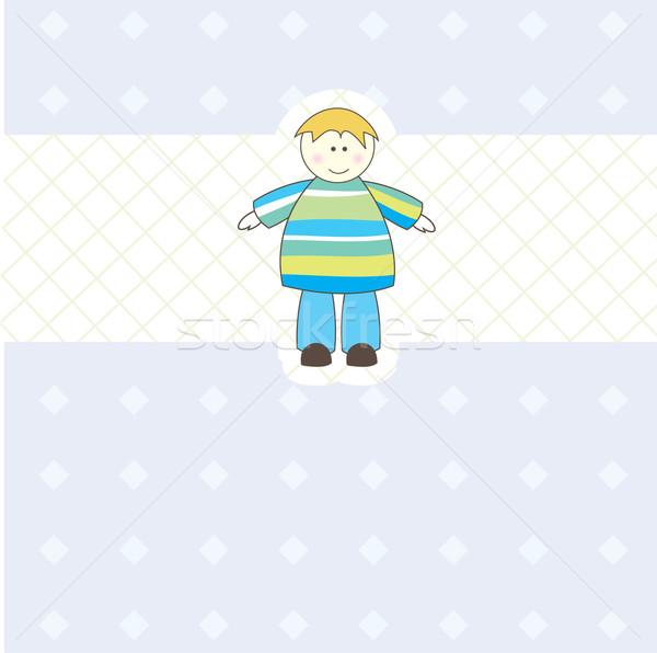 Baby jongen aankomst illustratie aankondiging kaart Stockfoto © shekoru