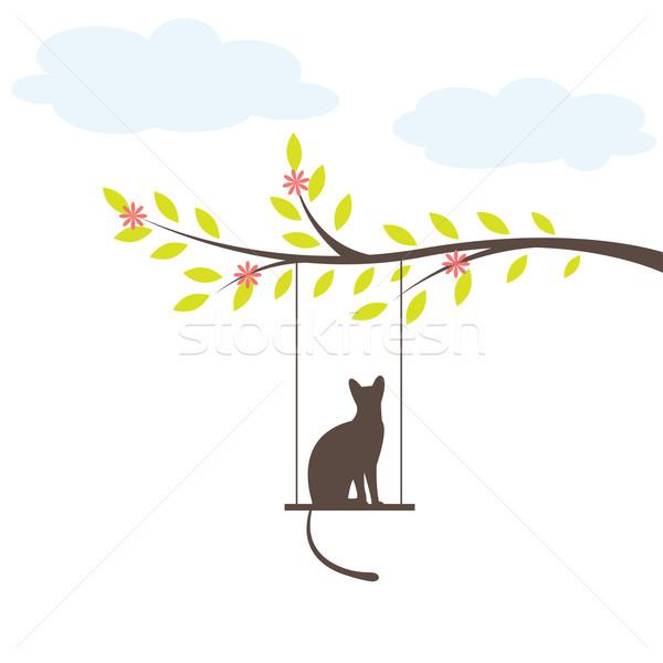 Gato preto balançar vetor árvore bebê amor Foto stock © shekoru