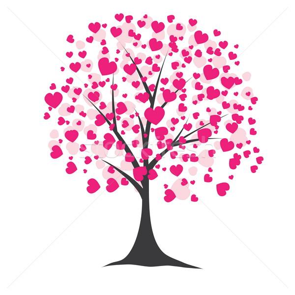 árvore corações rosa computador primavera coração Foto stock © shekoru
