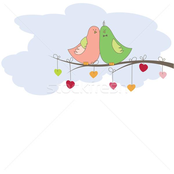 Aves amor computador primavera coração projeto Foto stock © shekoru