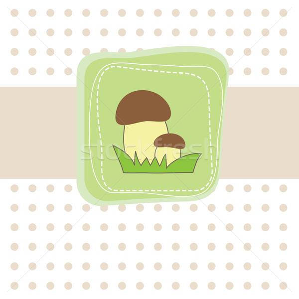Basit kart mantar pastel bahar çim Stok fotoğraf © shekoru