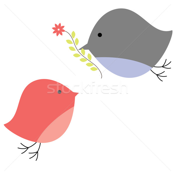 Oiseaux amour ordinateur printemps coeur design Photo stock © shekoru