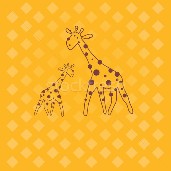 жираф иллюстрация Cartoon желтый искусства Живопись Сток-фото © shekoru