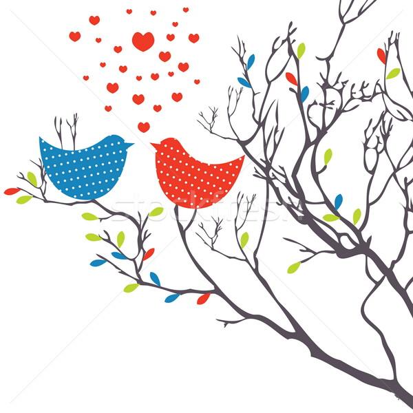 Background with birds. Vector illustration Stock photo © shekoru