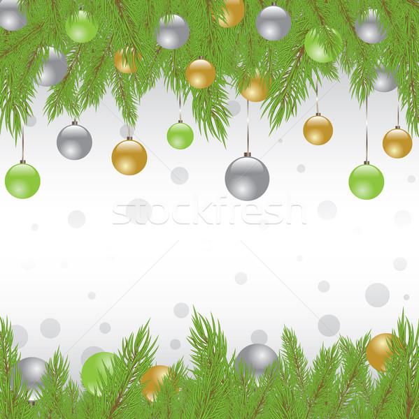 Noel kürk ağaç dekorasyon arka plan sanat Stok fotoğraf © shekoru