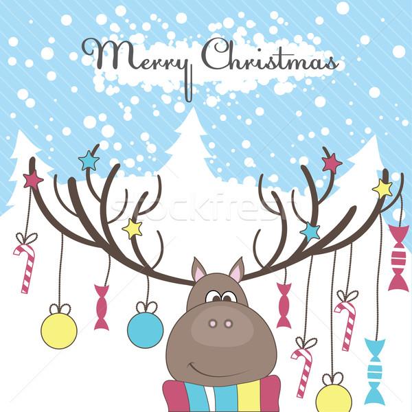Stok fotoğraf: Noel · ren · geyiği · hediyeler · renkli · eğlence · kar