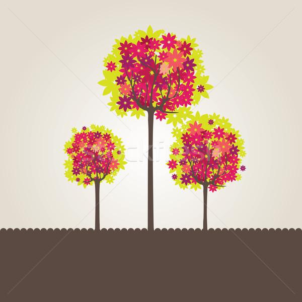 Foto stock: Abstrato · árvore · flores · flor · globo