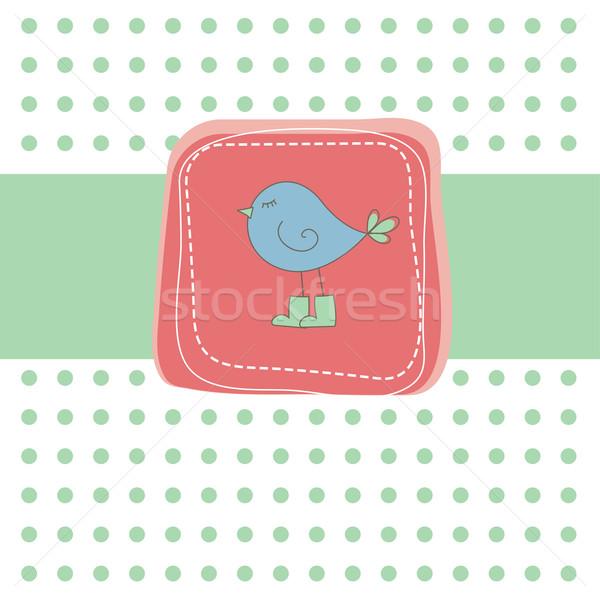 Romântico verde cartão pássaro vermelho amor Foto stock © shekoru