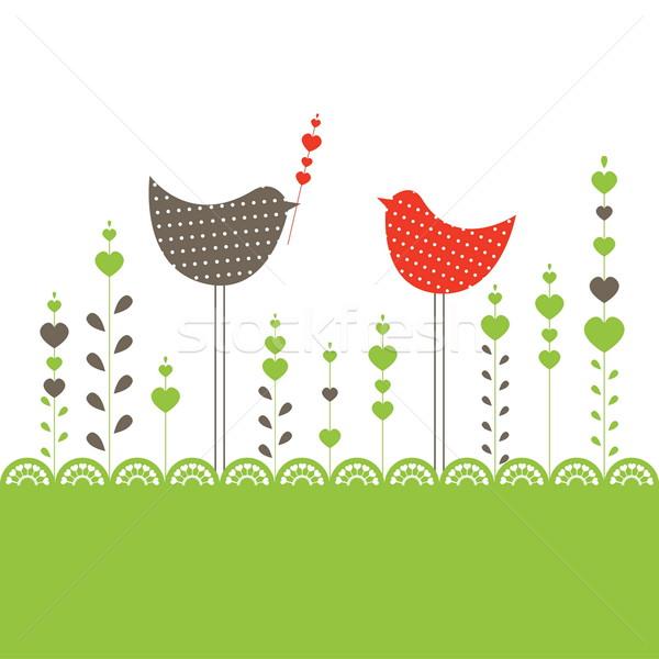 Kuşlar sevmek bilgisayar bahar kalp dizayn Stok fotoğraf © shekoru